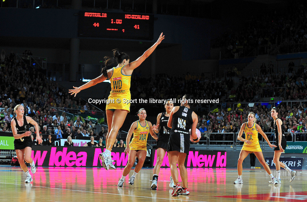 Mo'onia Gerrard (AUS)<br /> 2011 Holden Netball Test Series<br /> Australia vs New Zealand <br />  Sunday 30 October 2011<br /> Hisense Arena/ Melbourne Australia <br /> &copy; Sport the library / Jeff Crow