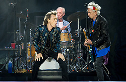Mick Jagger, Keith Richards and Charlie Watts of The Rolling Stones perform on stage at Ricoh Arena on June 02, 2018 in Coventry, England. Picture date: Saturday 02 June, 2018. Photo credit: Katja Ogrin/ EMPICS Entertainment.