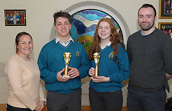 Sancta Maria College Awards 2018<br /> Transition Year award presented by teahers Micheel McGing and Noel McGreal to Conor Clarke and Laura O'Malley.<br /> Pic Conor McKeown
