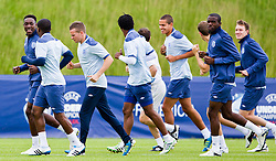 FREDERICIA, DENMARK - Tuesday, June 14, 2011: England's Daniel Welbeck (Manchester United FC) and his team-mates during training at the Fredericia Stadium ahead of the UEFA Under-21 Championship Denmark 2011 Group B match against Ukraine. (Photo by Vegard Grott/Propaganda)