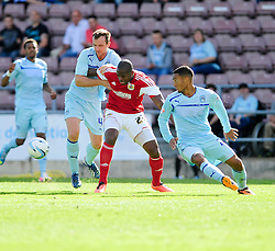 Bristol City's Marlon Harewood attempts to break away from Coventry City's Andy Webster  - Photo mandatory by-line: Dougie Allward/JMP - Tel: Mobile: 07966 386802 11/08/2013 - SPORT - FOOTBALL - Sixfields Stadium - Sixfields Stadium -  Coventry V Bristol City - Sky Bet League One