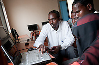 Computer Science students at Benadir University in Mogadishu use the web to work on learning assignments