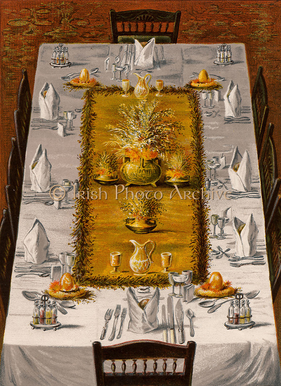 Dinner table arranged for eight.  At each corner of the central decoration is a Prices's glass Fairy Light containing a candle.  Oleograph from 'Cassell's Book of the Household' (London, c1895).