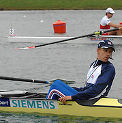 Munich, GERMANY, 31.08.2007,  GBR M8+, cox Acer NETHERCOTT, Guides the eight onto the start for the Men's Eights  Semi Final. Sixth day, at the 2007 World Rowing Championships, taking place on the   Munich Olympic Regatta Course, Bavaria. [Mandatory Credit. Peter Spurrier/Intersport Images].... , Rowing Course, Olympic Regatta Rowing Course, Munich, GERMANY