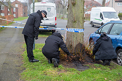 © Licensed to London News Pictures. 21/02/2018. Nuneaton, Warwickshire, UK. A man has died and two others taken to hospital after a stabbing in Vernons Lane, Nuneaton. The man was taken to hospital but later died. The other two men remain in hospital. Police are pictured carrying out a search of the area looking for evidence. Photo credit: Dave Warren/LNP