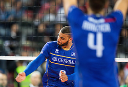17-10-2015 BUL: Volleyball European Championship Frankrijk - Bulgarije, Sofia<br /> Semifinal in Arena Armeec Sofia / Earvin Ngapeth #9 of France reacts<br /> Photo: Vid Ponikvar / RHF<br /> +++USE NETHERLANDS ONLY+++