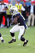 Los Angeles Chargers running back Branden Oliver (32) runs the ball during the 2017 NFL week 1 preseason football game against the Seattle Seahawks, Sunday, Aug. 13, 2017 in Carson, Calif. The Seahawks won the game 48-17. (©Paul Anthony Spinelli)