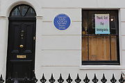 A political message about the value of migration is attached to the exterior of the location where Dutch landscape painter Vincent van Gogh lived for a short period between 1873-4, at 87 Hackford Road, London S9 in Brixton SW9, on 11th May 2020, in London, England. The 20 year-old Van Gogh was not yet an artist when he came to London to work for Dutch art dealer, Goupil & Cie in Covent Garden. His lodgings was at one point semi-derelict but is now a listed Art House created by Artangel's Saskia Olde Wolbers.