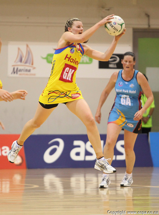 the Pulses Katrina Grant collects a high ball against the Steel in the teams ANZ Championship Netball match, PG Arena, Napier, New Zealand, Saturday, 7 April, 2012. Credit:SNPA / John Cowpland
