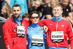 "05.09.2015, Brandenburger Tor, Berlin, GER, Leichtathletik Meeting, Berlin fliegt, im Bild Aleksandr Petrov (RUS), Yelena Mashinistova (RUS) und Leonid Kivalov (RUS) (v.l.) // during the Athletics Meeting ""Berlin flies"" at the Brandenburger Tor in Berlin, Germany on 2015/09/05. EXPA Pictures © 2015, PhotoCredit: EXPA/ Eibner-Pressefoto/ Eibner-Pressefoto<br /> <br /> *****ATTENTION - OUT of GER*****"
