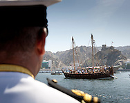 "15th February 2010. Muscat. Oman..Pictures of an Omani naval officer watching ""The Jewel of Muscat"" leaving the port and Oman today. Recreating the origanol historic journey to Singapore."