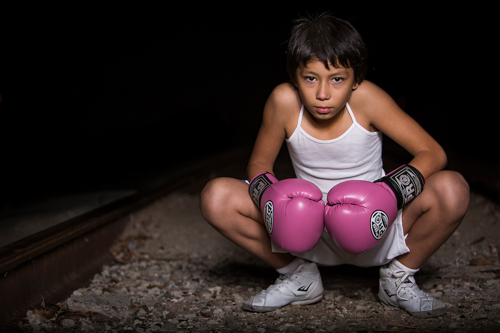 Lesley Quesada is a ten year old boxer that trains at the La Habra Boxing Club in La Habra Ca.. Photo taken on November 5th 2015. (Photo By: Daniel Bowyer/Sports Shooter Academy)