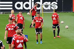 """04.08.2014, BayArena, Leverkusen, GER, 1. FBL, Bayer 04 Leverkusen, Training, im Bild Kyriakos Papadopoulos ( mitte Bayer 04 Leverkusen ) """" mitten drin """" bei seinem ersten Training im Bayer Dress. // during a trainingssession of the german 1st Bundelsliga Club Bayer 04 Leverkusen at the BayArena in Leverkusen, Germany on 2014/08/04. EXPA Pictures © 2014, PhotoCredit: EXPA/ Eibner-Pressefoto/ Thienel<br /> <br /> *****ATTENTION - OUT of GER*****"""