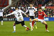 Nottingham Forest midfielder Matthew Cash (14) and Bristol City's Eros Pisano during the EFL Sky Bet Championship match between Nottingham Forest and Bristol City at the City Ground, Nottingham, England on 19 January 2019.