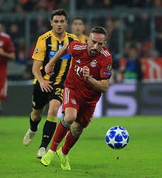 07.11.2018, Champions League, FC Bayern vs AEK Athen, Allianz Arena  Muenchen,  Fussball, Sport, im Bild:...Konstantinos Galanopuoulos ( AEK Athen ) und Franck Ribery (FCB)..DFL REGULATIONS PROHIBIT ANY USE OF PHOTOGRAPHS AS IMAGE SEQUENCES AND / OR QUASI VIDEO...Copyright: Philippe Ruiz..Tel: 089 745 82 22.Handy: 0177 29 39 408.e-Mail: philippe_ruiz@gmx.de. (Credit Image: © Philippe Ruiz/Xinhua via ZUMA Wire)