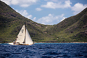 Janley sailing in the Antigua Classic Yacht Regatta, Old Road Race.