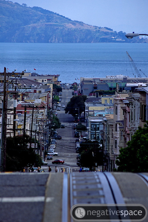 Trolley tracks on the hills of Mason Street, San Francisco, California