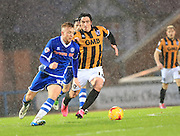 Callum Camps, Louis Dodds during the Sky Bet League 1 match between Rochdale and Port Vale at Spotland, Rochdale, England on 28 November 2015. Photo by Daniel Youngs.