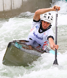 27.06.2015, Verbund Wasserarena, Wien, AUT, ICF, Kanu Wildwasser Weltmeisterschaft 2015, C1 men, im Bild Peter Draxl (AUT) // during the final run in the men's C1 class of the ICF Wildwater Canoeing Sprint World Championships at the Verbund Wasserarena in Wien, Austria on 2015/06/27. EXPA Pictures © 2014, PhotoCredit: EXPA/ Sebastian Pucher