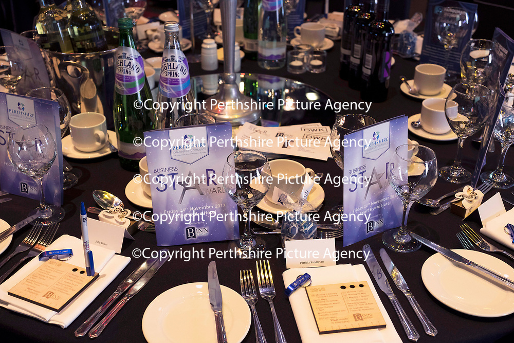 Perthshire Chamber of Commerce Business Star Awards 2017…Crieff Hydro Hotel<br />The tables all set up and ready to go for the awards night<br />Picture by Graeme Hart. <br />Copyright Perthshire Picture Agency<br />Tel: 01738 623350  Mobile: 07990 594431