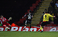 London - Wednesday, December 12th, 2008: Tamas Priskin of Watford scores the first goal against Norwich City during the Coca Cola Championship match at Vicarage Road, London. (Pic by Chris Ratcliffe/Focus Images)