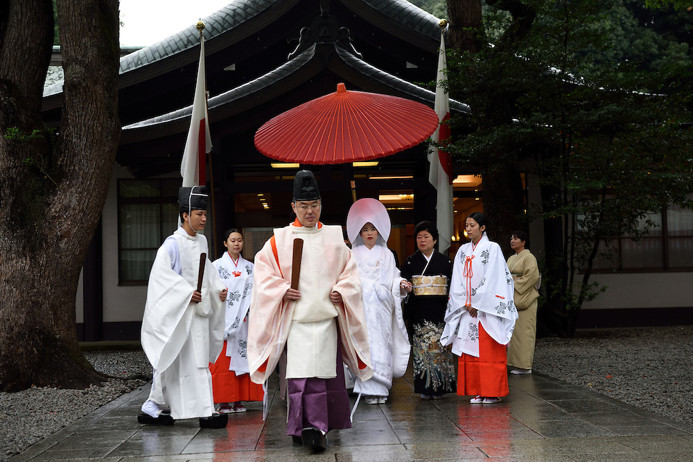 A traditional Japanese wedding in Meiji Shrine in Tokyo on October17, 2015. Meiji Shrine, located in Shibuya, Tokyo, is the Shinto shrine that is dedicated to the deified spirits of Emperor Meiji and his wife, Empress Shōken. Photo by Gili Yaari