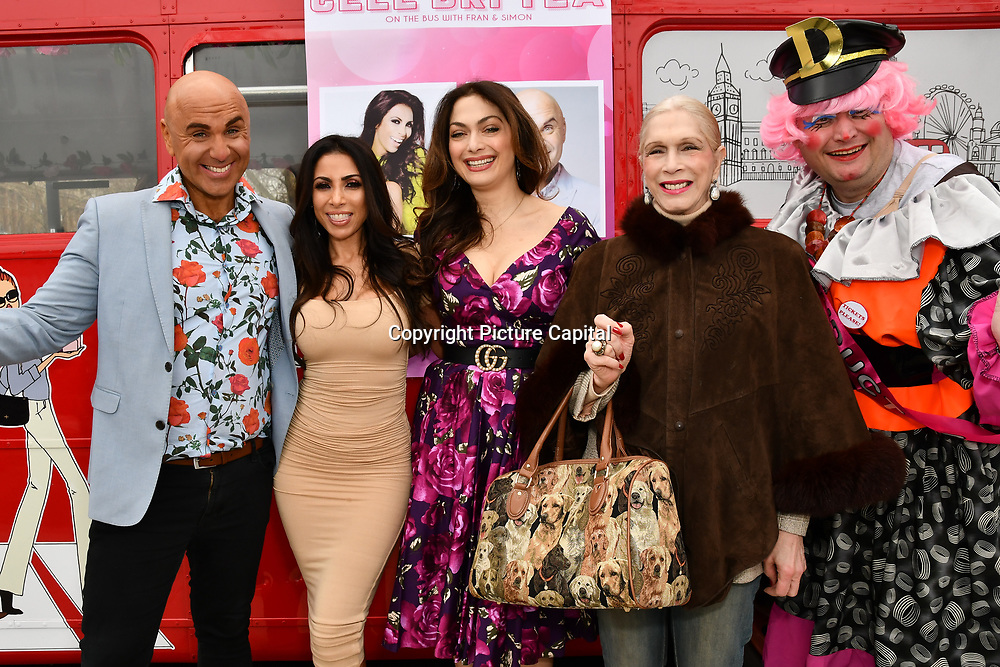 Simon Gross, Lady Colin Campbell, Tonia Buxton and John Dixon attend Celeb Bri Tea, on board the BB Bakery bus on 22 March 2019, London, UK.