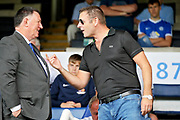 Peterborough United owner Darragh MacAnthony shares a joke with CEO Bob Symns before the Pre-Season Friendly match between Peterborough United and Bolton Wanderers at London Road, Peterborough, England on 28 July 2018. Picture by Nigel Cole.
