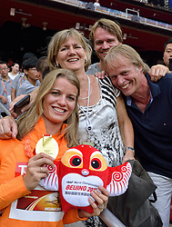 29-08-2015 CHN: IAAF World Championships Athletics day 7, Beijing<br /> Dafne Schippers (NED) with gold medal after medal ceremony of 200 m Photo by Ronald Hoogendoorn / Sportida