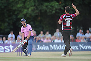 Tim Groenewald celebrates his third wicket during the NatWest T20 Blast South Group match between Middlesex County Cricket Club and Somerset County Cricket Club at Uxbridge Cricket Ground, Uxbridge, United Kingdom on 26 June 2015. Photo by David Vokes.