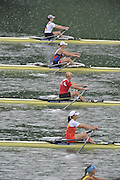 Lucerne SWITZERLAND,  W1X. Start of the first semi-final women's single sculls,  top down GER W1X. Carina BAER, RUS W1X, Julia LEVINA, BLR W1X, Ekaterina KARSTEN, CHN W1X, Xiuyun ZHANG, SWE W1X, Frida SVENSSON, at the   2011 FISA World Cup on the Lake Rotsee.  15:36:20  Saturday   09/07/2011   [Mandatory Credit Peter Spurrier/ Intersport Images]