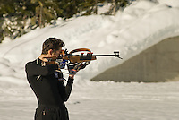 Competitors practice at the Biathlon Range, Whistler Olympic Park, Whistler, BC