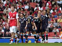 Photo: Olly Greenwood.<br />Arsenal v West Ham United. The Barclays Premiership. 07/04/2007. West Ham's Bobby Zamora celebrates scoring with his team mates