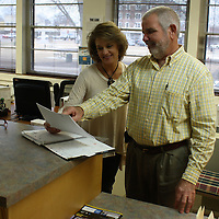 JOHN WARD/BUY AT PHOTOS.MONROECOUNTYJOURNAL.COM<br /> Retiring Amory City Clerk Lee Barnett, right, is pictured with Angie Whitlock from the Amory Planning and Zoning Department. Barnett gave notification Jan. 3 he will be retiring from the position in April.