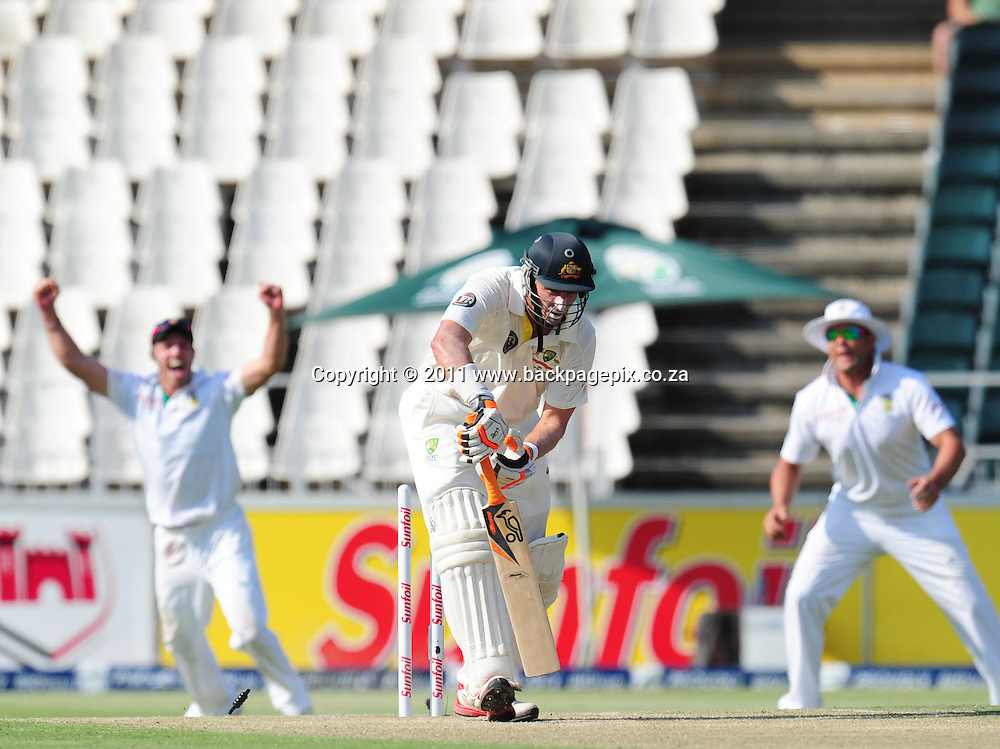 Michael Hussey of Australia is bowled out by Dale Steyn of South Africa <br /> &copy; Barry Aldworth/Backpagepix