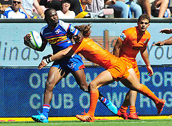 Cape Town-180217 Stomers player Seabelo Seanatla  tackled by Joaquin Tuculet  of Jaguares in the opening game of the Super 15 at Newlands .Stomers won the game 28-25.photograph:Phando Jikelo/African News Agency/ANA