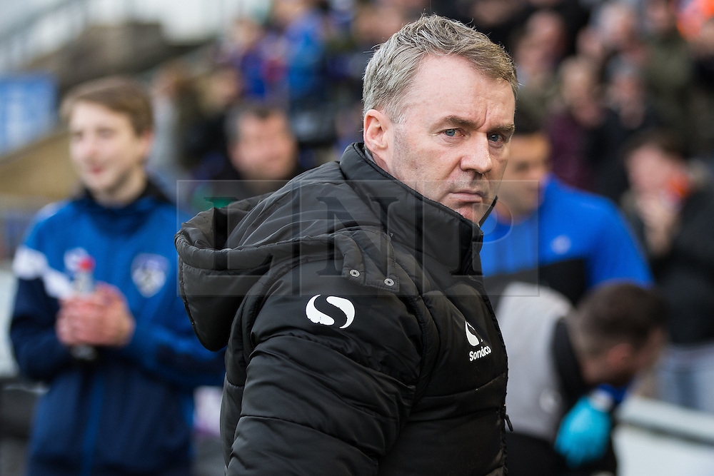 © Licensed to London News Pictures . 23/01/2016 . Oldham , UK . JOHN SHERIDAN at his first home game back as Oldham Manager . Oldham Athletic vs Bury at Boundary Park . Photo credit : Joel Goodman/LNP