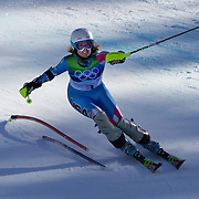 Winter Olympics, Vancouver, 2010.Julia Mancuso, USA, winning the Silver Medal,  in action in the Alpine Skiing Ladies Super Combined competition at Whistler Creekside, Whistler, during the Vancouver Winter Olympics. 18th February 2010. Photo Tim Clayton