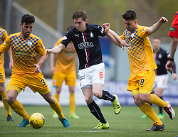 Falkirk's Blair Alston and Morton&rsquo;s Ricki Lamie and Morton&rsquo;s Ross Forbes. <br /> Falkirk 1 v 0 Morton, Scottish Championship game  played 1/5/2016 at The Falkirk Stadium.