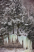 Ice formations at Upper Tahquamenon Falls in Winter.