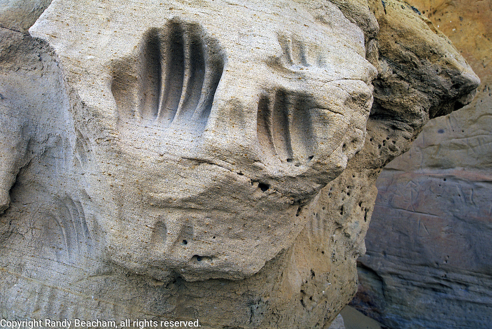 Hand petroglyphs in sandstone. White Mountain in the Red Desert. Great Divide Basin, Wyoming
