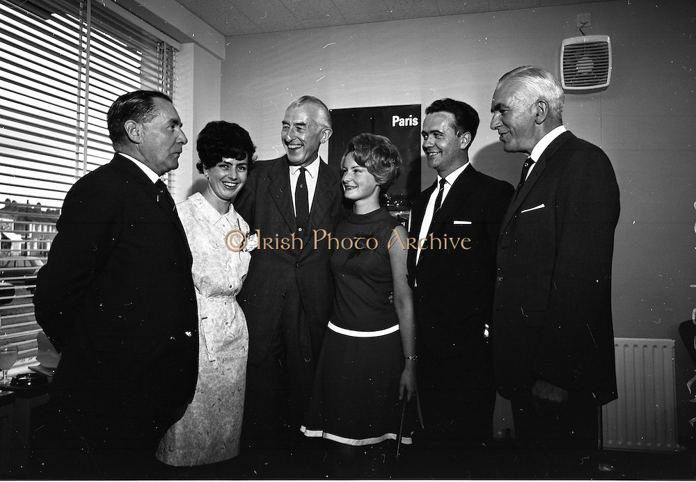 19/07/1967<br /> 07/19/1967<br /> 19 July 1967<br /> Opening of Intercontinental Travel Ltd. at Crumlin Cross, Dublin. The company, an associate company of the Loftus group of Companies was the first Irish Travel Agency to be opened in the outer  suburbs of Dublin. Photo shows (l-r): Mr. Alf Clancy, (General Publications Ltd.); Miss Anna Morrin (Northern Ireland Tourist Board); Mr. Felix O'Neill, (Manager for Ireland of Swissair); Miss Jill Clancy (Stillorgan); Mr. Michael O'Donnell, (Sales representative B.O.A.C.) and Mr. Max Beaton, (Northern Ireland Tourist Board).