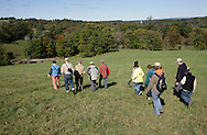 Salisbury Mills, New York - A group of people hike through Clove Brook Farm at the base of Schunnemunk Mountain on Oct. 2, 2010. The outing was organized by the Hudson Highlands Nature Museum.