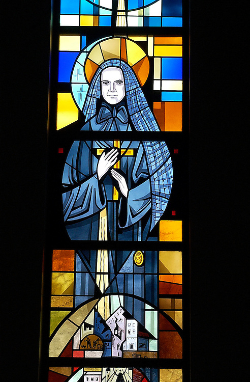 Stained glass of St. Frances Cabrini, Our Lady Queen of Peace Church, Milwaukee. (Photo by Sam Lucero).
