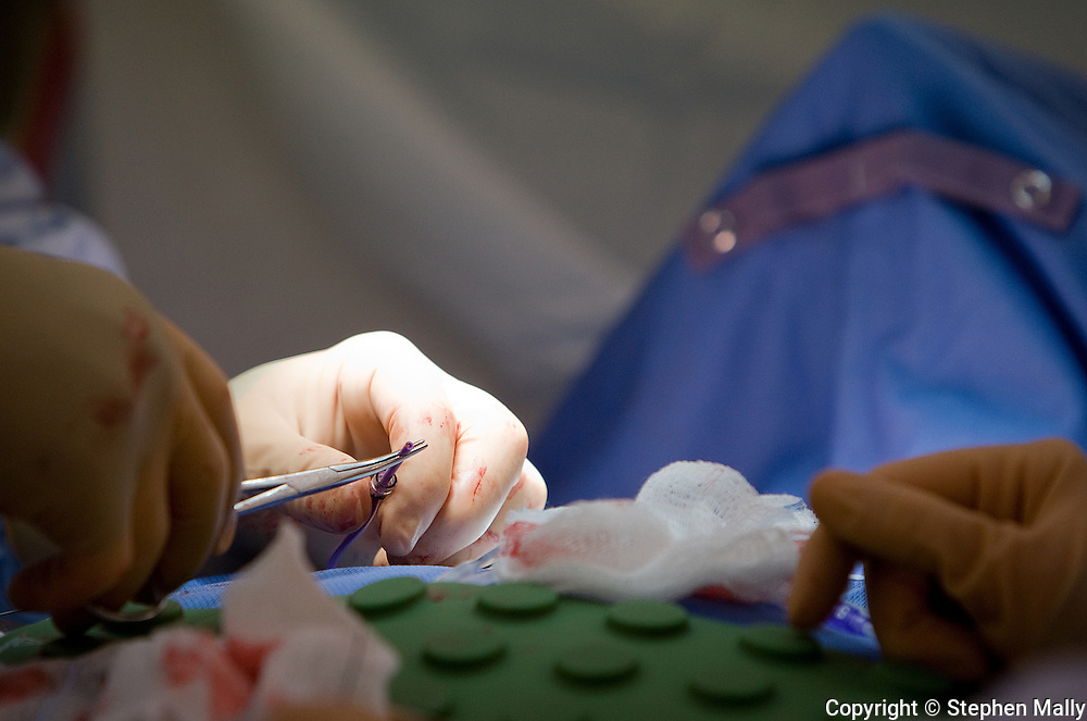 Dr. John Phillips (from left) is assisted by Operating Room Technician Dawn Campbell as he operates on Jane Wilson at Great River Medical Center in West Burlington, Iowa on Monday December 22, 2008.