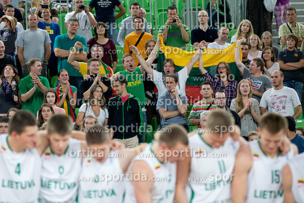 Fan of Lithuania during ceremony after Lithuania won and become European Champions U-20 after basketball match between National teams of Lithuania and France in Final match of U20 Men European Championship Slovenia 2012, on July 22, 2012 in SRC Stozice, Ljubljana, Slovenia. Lithuania defeated France 50:49. (Photo by Matic Klansek Velej / Sportida.com)