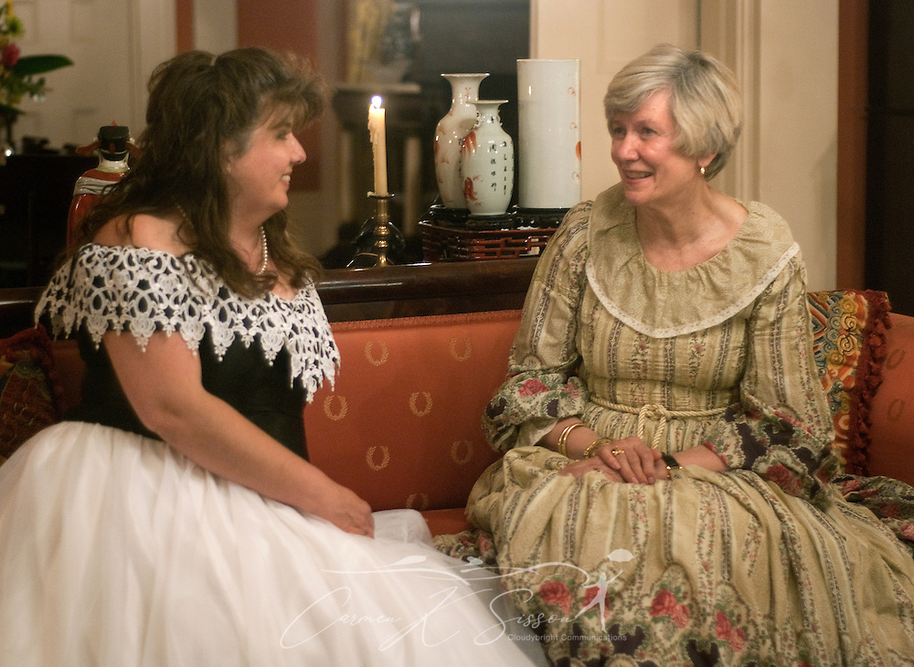 Elizabeth Owens (left) talks with homeowner Patty DeBardeleben at Riverview, a historic mansion in Columbus, Miss.,  April 17, 2010. The 1850 Greek Revival home was among nearly two dozen sites on tour during Columbus' annual Spring Pilgrimage. (Photo by Carmen K. Sisson/Cloudybright)