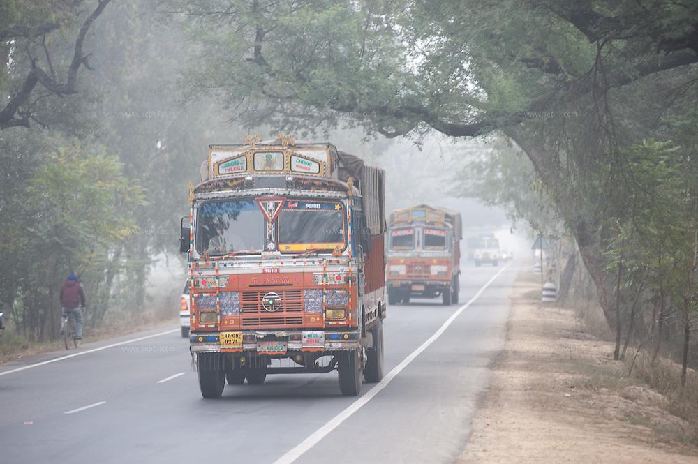 Truck on highway in Jalandhar.