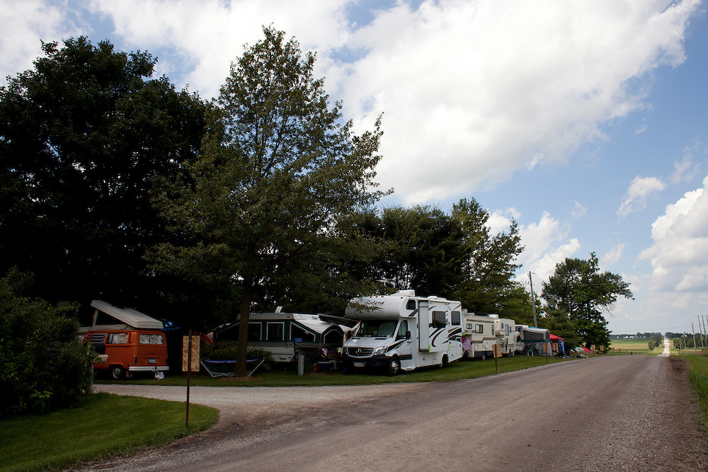 Camp Euforia takes place annually on Jerry Hotz's 120-acre farm north of Lone Tree in southeast Johnson County. This year's music fest has already seen thunder storms and humid weather, neither of which deter the thousand or so campers and guests in attendance.