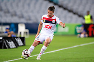SYDNEY, NSW - JANUARY 18: Adelaide United defender Michael Marrone (2) controls the ball at the Hyundai A-League Round 14 soccer match between Western Sydney Wanderers and Adelaide United at ANZ Stadium in NSW, Australia 18 January 2019. Image by (Speed Media/Icon Sportswire)